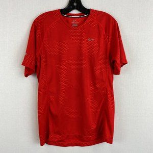 NIKE Red Patterned Sport T-Shirt